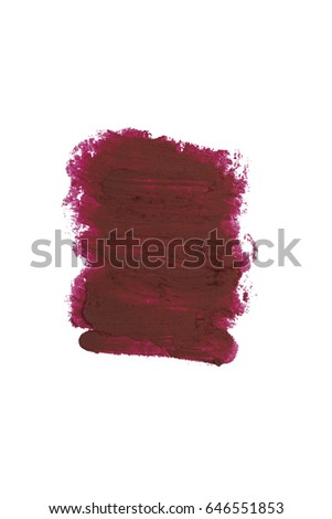 Dark cherry red cosmetic pencil lipstick color stroke sample, beauty product isolated on white background