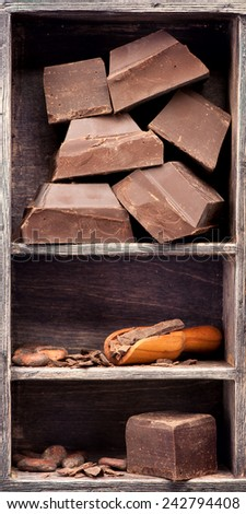 Dark chocolate and cocoa beans in a vintage box. Food background - stock photo