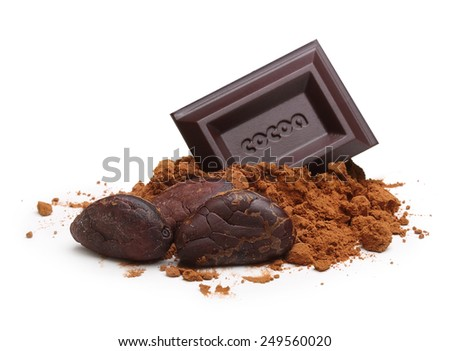 Dark chocolate bar, cacao beans and powder  isolated on white background - stock photo
