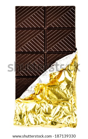 Dark Chocolate Bar in foil cover isolated on white background  closeup. Chocolate Background.  - stock photo