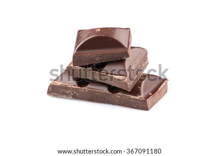 Dark chocolate bars on a white background