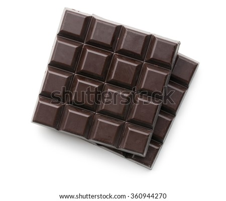 dark chocolate bars on white background - stock photo