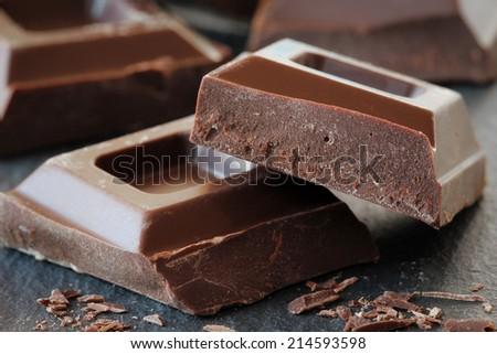 Dark chocolate blocks - stock photo