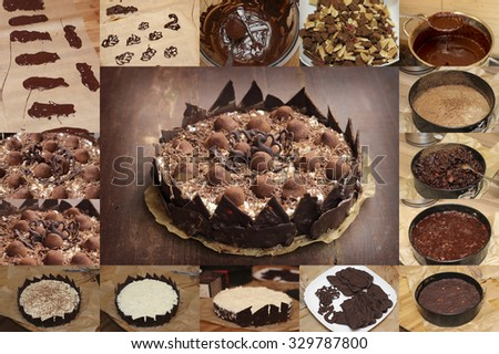 Dark chocolate cake, Home handed chocolate cake with cookies and truffles, dark chocolate and cocoa, Piece of chocolate cake with icing - stock photo