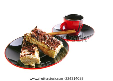 dark chocolate cake with black french coffee - stock photo