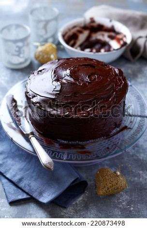 Dark Chocolate Cake with Chocolate Glaze for Christmas - stock photo