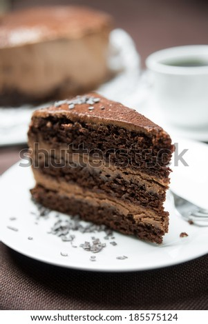 dark chocolate cake with whipped soy cream - stock photo