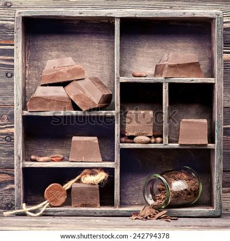 Dark chocolate in vintage box. chocolate food background - stock photo