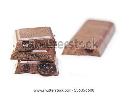 dark chocolate isolated on white background
