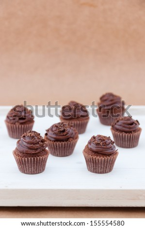 Dark chocolate mini cupcakes  - stock photo