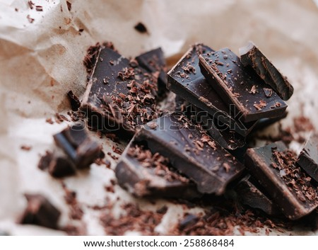 Dark Chocolate On Paper - stock photo