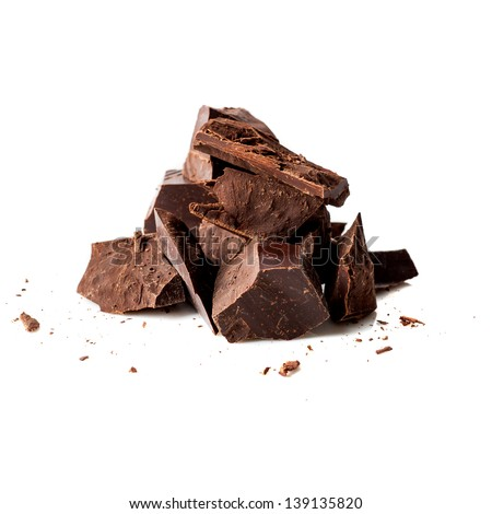 Dark chocolate pieces - stock photo