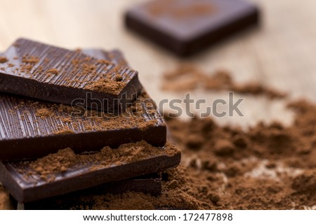 Dark Chocolate with Cocoa on Wooden Table - stock photo