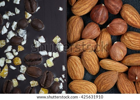 Dark chocolate with coffee beans, fruit and with almonds. Prepared for the World Chocolate Day. Photographed close-up. - stock photo
