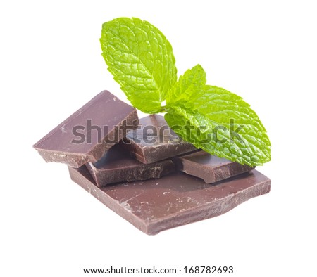 Dark chocolate with peppermint isolated on white background.