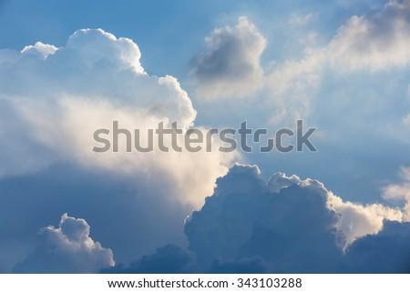 Dark clouds before thunderstorm and rain - stock photo