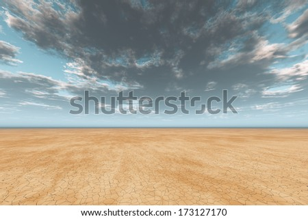 dark clouds in sky over cracked desert earth - stock photo