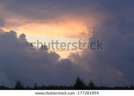 Dark clouds in the sky - stock photo