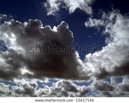 dark clouds in the sunny sky background