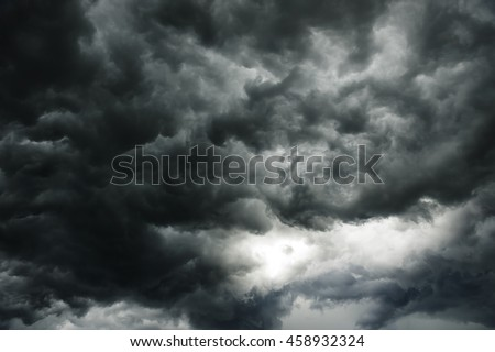 Dark clouds in thunderstorm - stock photo