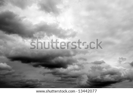 dark clouds,  latin: Nimbostratus (Ns), Cumulonimbus (Cb), Stratus (St) - stock photo
