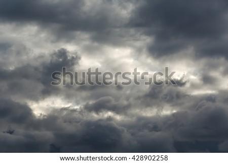 Dark clouds of stormy sky - stock photo