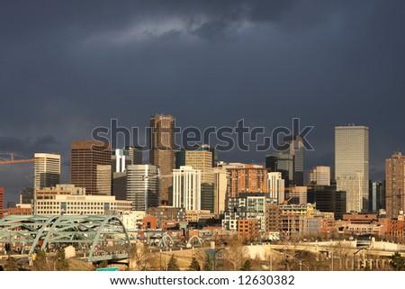 Dark clouds over Denver, Colorado - stock photo
