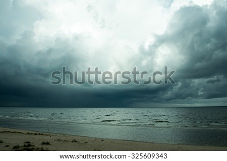Dark clouds over gulf of Riga,  Baltic sea.