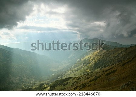 Dark clouds over the Tatra Mountains, Poland. - stock photo