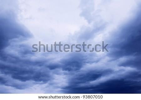 Dark cloudy sky background - stock photo