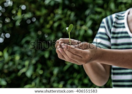 Dark colour tone of the selective focus on small kid hand holding young seedling plant in soile for growing. Earth day concept.