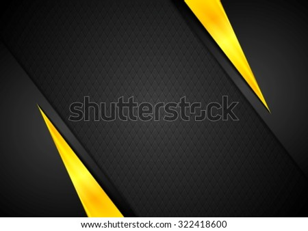 Dark contrast black yellow background - stock photo