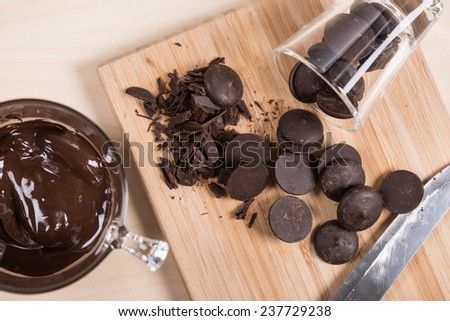 dark couverture chocolate for cooking  - stock photo