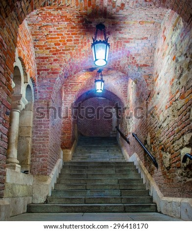 dark covered brick staircase is leading towards fishermans bastion in hungarian capital budapest - stock photo