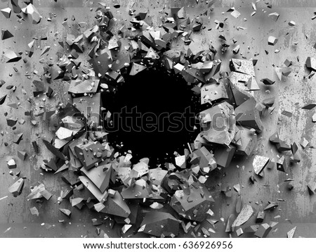 Dark cracked broken wall in concrete wall  Grunge background  3d render  illustration. Dark Cracked Broken Wall Concrete Wall Stock Illustration