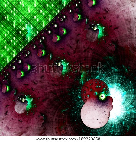 Dark cyan, pink and green abstract crazy strange fractal background with a detailed star-like circular pattern on the right and a decorative detailed square grid in upper left corner - stock photo