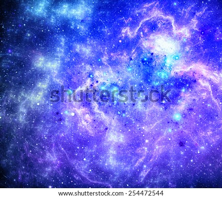 Dark deep space with nebula with stars.  - stock photo