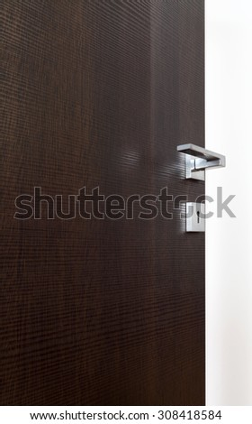 dark door open, with the handle, on white background
