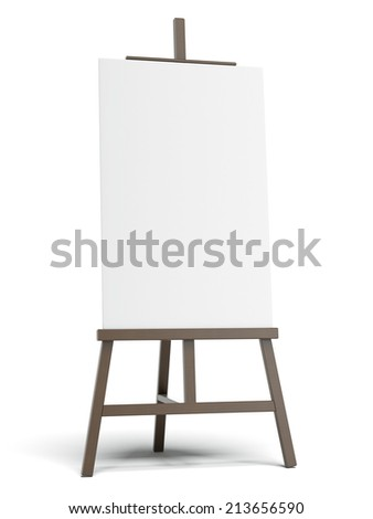 Dark easel with empty canvas  - stock photo