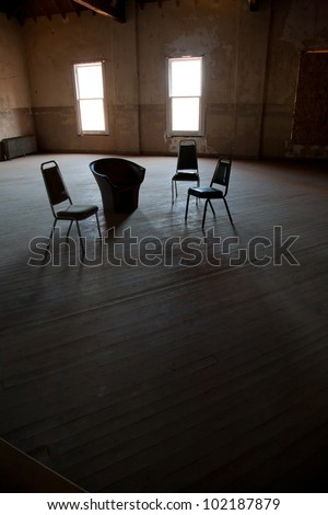 Dark Empty Room With Two Windows Chairs