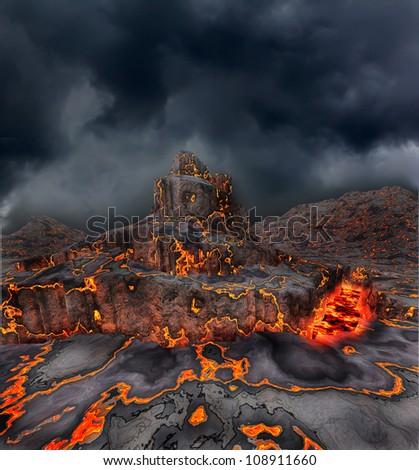 Dark fantasy landscape - stock photo