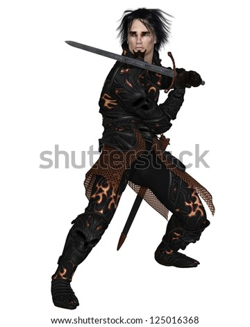 Dark fantasy warrior knight wearing black skull armour, holding a sword, 3d digitally rendered illustration - stock photo