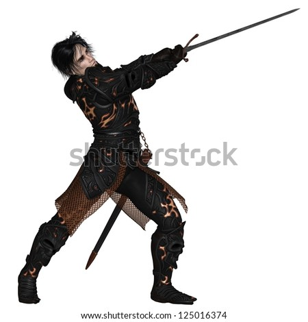 Dark fantasy warrior knight wearing black skull armour, swinging a sword, 3d digitally rendered illustration - stock photo