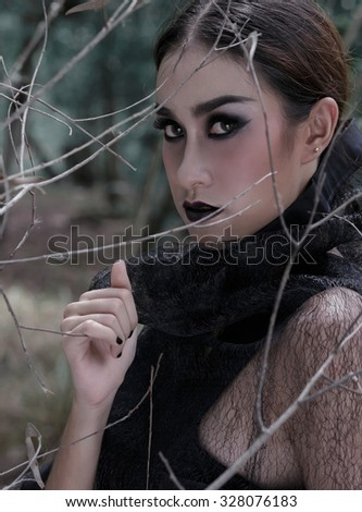 Dark fashion women asia mood dream in forest