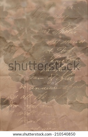 Dark, floral, grungy artistic background with handwriting - stock photo