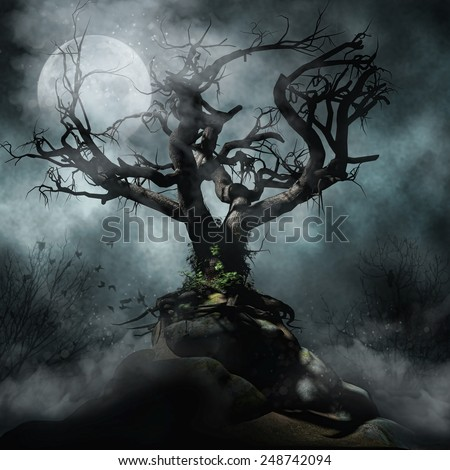 Dark foggy scenery with a spooky tree and full moon - stock photo