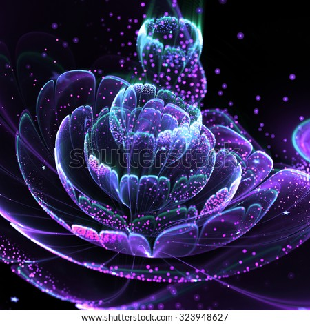 Dark fractal flower with pollen, digital artwork for creative graphic design