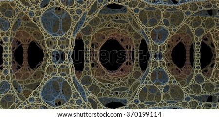Dark fractal illustration of perforated cell-like cave or hall on another planet with black background - stock photo