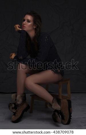 Dark full-body portrait - stock photo