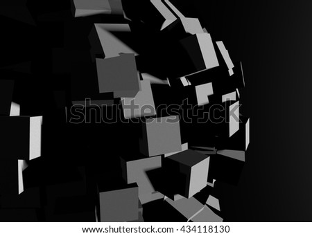 Dark geometry universe abstract background 3D illustration